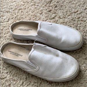 American eagle white slip on vans like shoes